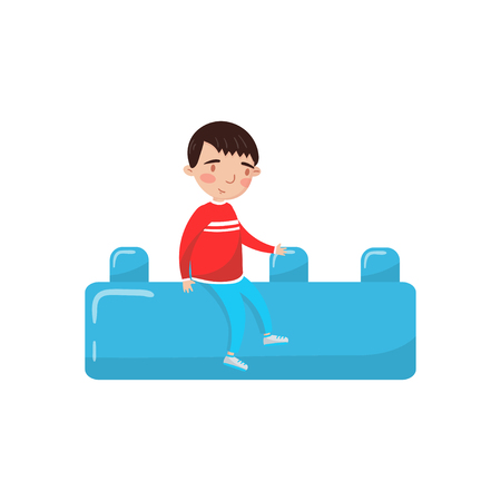 Cute little boy sitting on a giant blue buiding toy block, preschool activities and early childhood education cartoon vector Illustration