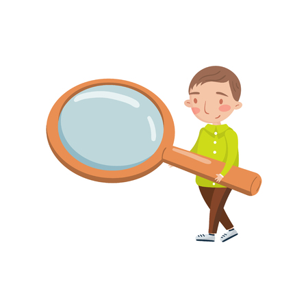 Little boy holding giant magnifying glass, preschool activities and early childhood education cartoon vector Illustration