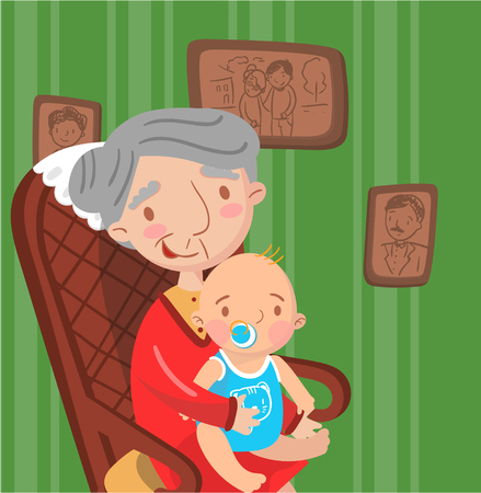 Grandmother with her grandson, photo on the background of retro room interior.