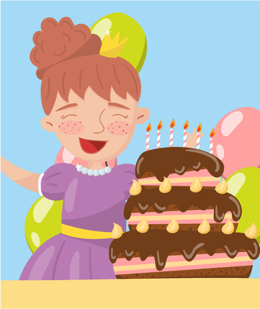 Happy young woman holding birthday cake photo, best moments on pictures, portrait of family members vector Illustration Illustration