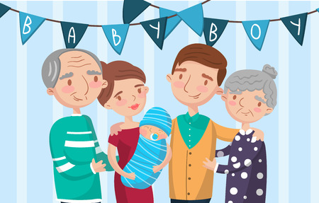 Happy big family portrait, best moments on pictures, photo of family members vector Illustratio