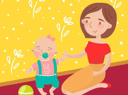 Mom playing ball with her little baby son photo, best moments on pictures, portrait of family members vector Illustration