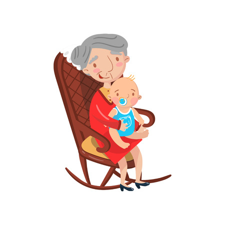 Grandmother sitting with her grandson on her knees cartoon vector Illustration