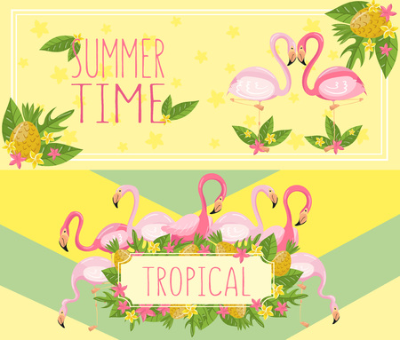 Tropical summer time horizontal banners, design element with palm leaves, flowers, pineapples and flamingos vector Illustrations