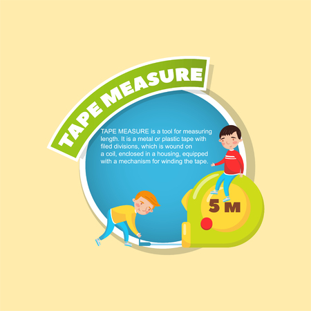 Tape measure tool description, little boys using giant measuring tape, creative poster with text vector illustration