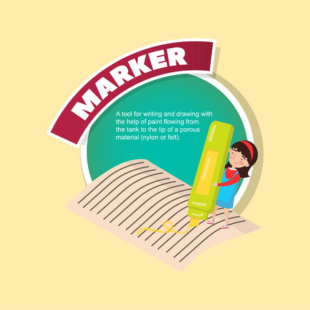 Marker tool description, little girl with giant highlighter creative poster with text vector illustration Çizim