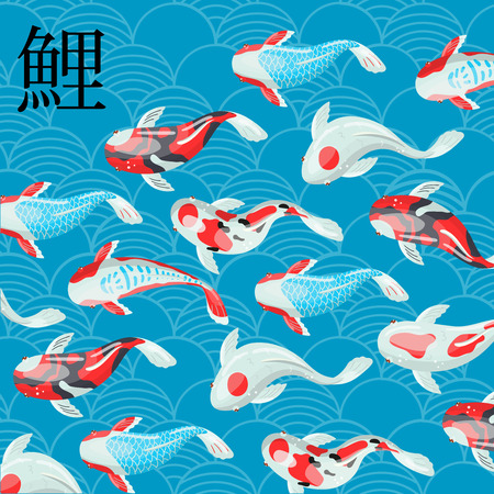 Carp Koi traditional sacred Japanese fish with japanese hieroglyph means Carp vector Illustration, design element for banner, poster