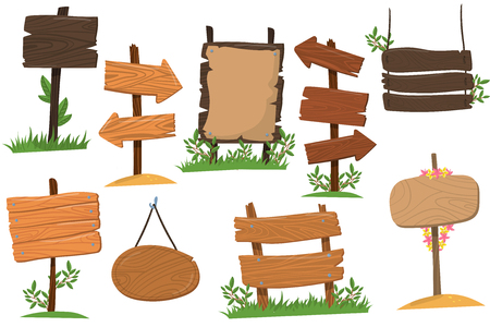 Conjunto de sinais de madeira de várias formas, comprimidos indicando o vetor de desenhos animados de ponta de flecha de índice de ilustrações isoladas em um fundo branco Foto de archivo - 94896753