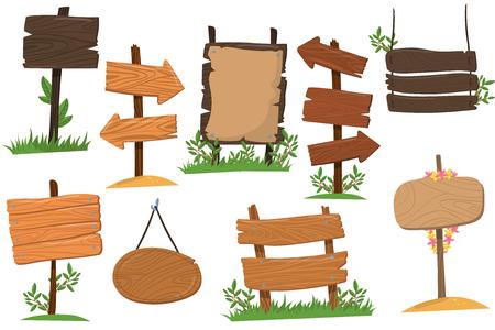 Insieme dei segni di legno di varie forme, compresse che indicano le illustrazioni di vettore del fumetto del modo della punta di freccia dell'indice isolate su un fondo bianco Vettoriali