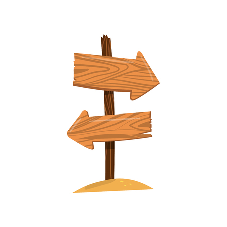 Wooden arrow sign post, right and left direction sign board cartoon vector Illustration isolated on a white background