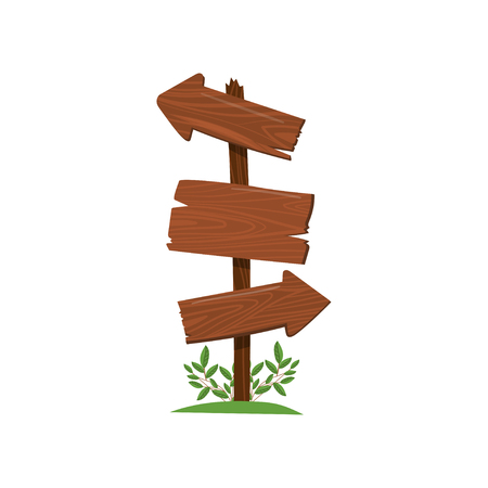 Wood arrow sign, old wooden road sign standing on the grass cartoon vector Illustration isolated on a white background