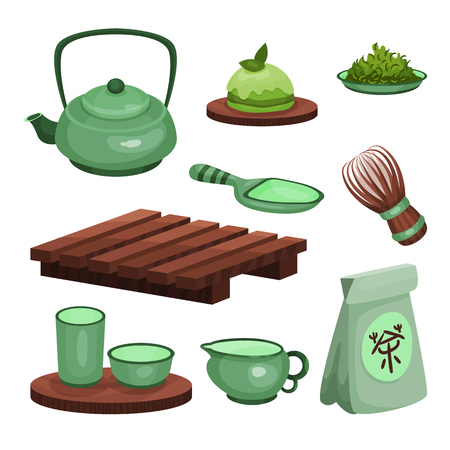 Tea ceremony set, tea time symbols and accessories cartoon vector Illustrations isolated on a white background Illustration
