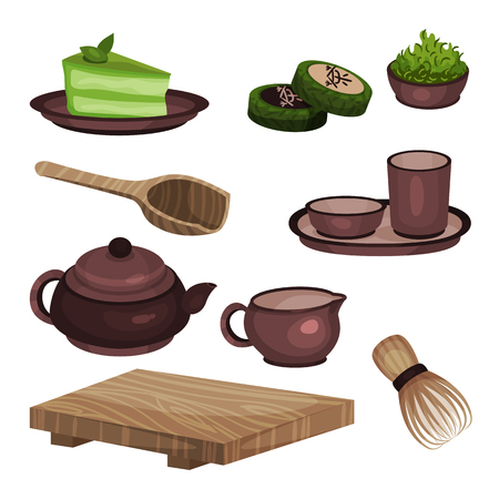 Tea ceremony equipment set, tea time symbols and accessories cartoon vector Illustrations Illustration