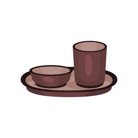 Brown traditional tea cups, tea ceremony element cartoon vector Illustration  イラスト・ベクター素材