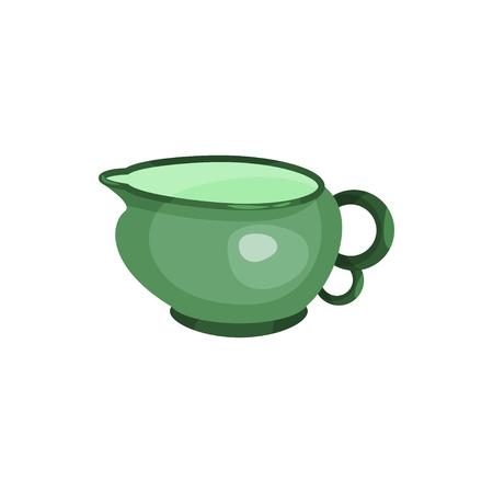 Green cream jug, tea ceremony element cartoon vector Illustration