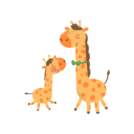 Cartoon animal family portrait of Giraffe
