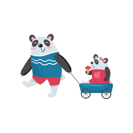 Father panda pulling his baby girl in toy wagon. Illustration