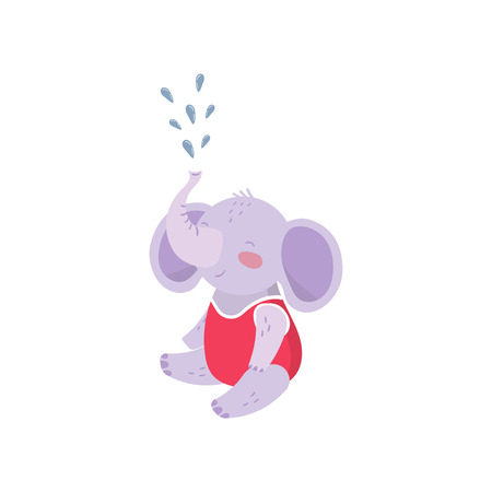 Cartoon baby elephant sitting and spraying water with his trunk.