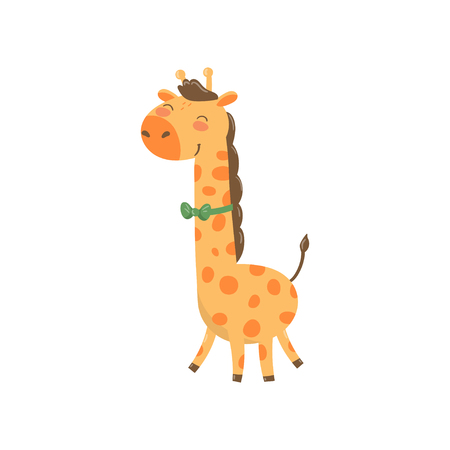 Cute giraffe character with green bow tie. Cartoon wild animal with long neck and spotted body. Colorful flat vector design for book or sticker, zoo theme. Vectores