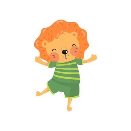 Cartoon character of baby lion in green striped t-shirt and shorts. Funny wild animal with orange mane, little rounded ears and happy muzzle. Colorful flat vector design.