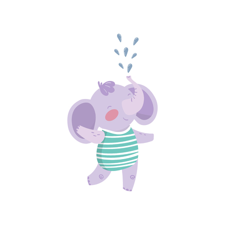 Funny purple elephant standing and spraying water with his trunk. Cute humanized animal with big ears dressed in striped swimming suit. Cartoon flat vector design.