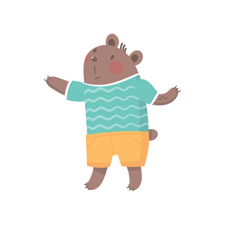 Cartoon bear character in striped t-shirt and shorts. Funny forest animal with brown fur, little rounded ears and small tail. Colorful flat vector design.