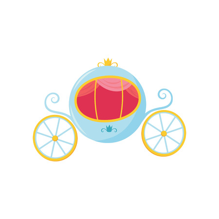 Blue medieval carriage with round-shaped cab and big wheels. Royal transport for princess or Cinderella cartoon flat vector design.