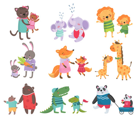 Cartoon set of cute animal family portraits. Ilustração