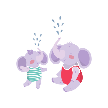 Father elephant and his son having fun together. Illustration
