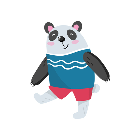 Cartoon panda character walking with smiling muzzle.  Flat vector design for children s book or greeting card