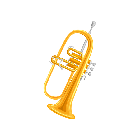 Golden trumpet in flat style.