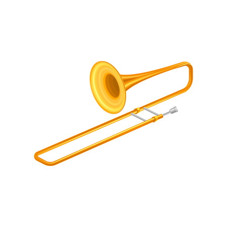 Large golden trumpet trombone. Brass musical instrument for playing orchestral or classical music. Decorative element for music store poster. Flat vector icon