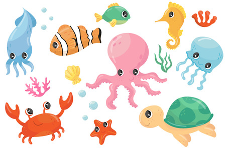 Colorful set of various sea creatures. Cartoon fish, seahorse, turtle, crab, jellyfish, octopus, seastar, seaweed. Flat vector element for children s book