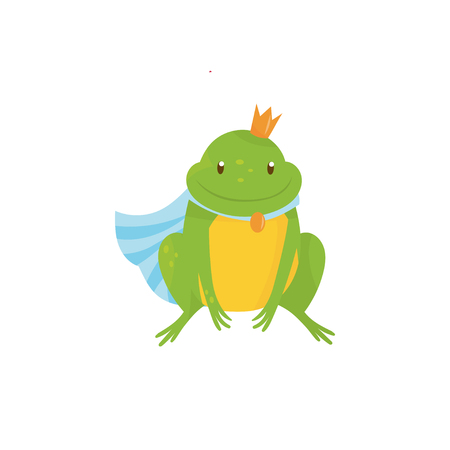 Cartoon frog prince with golden crown and blue mantle. Green toad with yellow belly. Character of children s fairy tale. Colorful flat vector design Illustration