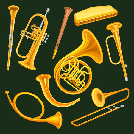Collection of woodwind and brass musical instruments. Clarinet, trumpet, harmonica, wooden pipe sopilka , french horn, hunting horns, trompette, trombone. Isolated vector illustration in flat style. Vettoriali