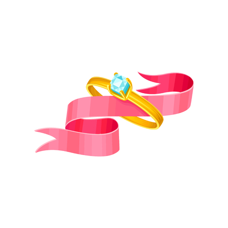 Beautiful illustration with female wedding engagement golden ring with diamond. Isolated objects with pink fluttering ribbon inside. Vector for greeting or invitation design.  イラスト・ベクター素材