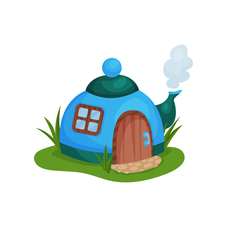 Cute fantasy house in form of blue teapot with little window and wooden door. Cartoon design for fairy tale book or mobile game. Colorful vector illustration in flat style isolated on white background