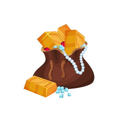 Shiny golden ingots, pearl necklace, diamonds and rubies in brown bag. Cartoon icon in flat style. Colorful vector design for mobile game interface