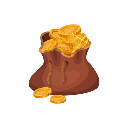 Brown bag full of golden coins icon