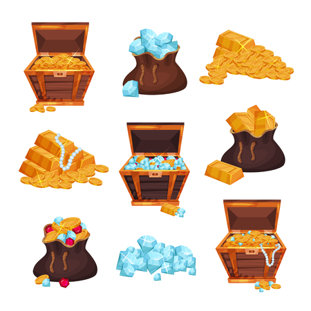 Colored set of chests and bags of treasures