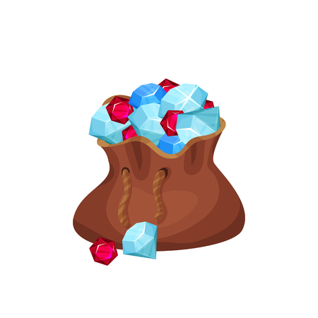 Large brown bag full of valuable stones (diamonds, sapphires and rubies). Cartoon gemstones. Flat vector element for jewelry shop flyer or mobile game