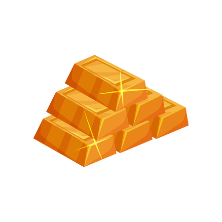 Pyramid from shiny golden ingots. Cartoon icon of gold bars in rectangular shape. Colorful flat vector element for mobile game interface