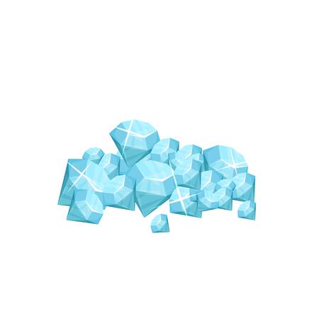 Stapel von Edelstein Edelstein . Blaue glänzende Form . Konzept des teuren Symbols . Symbol des Universums . Grafikdesign für Handy-Spiel . Flaches Design der Karikatur Vektorgrafik