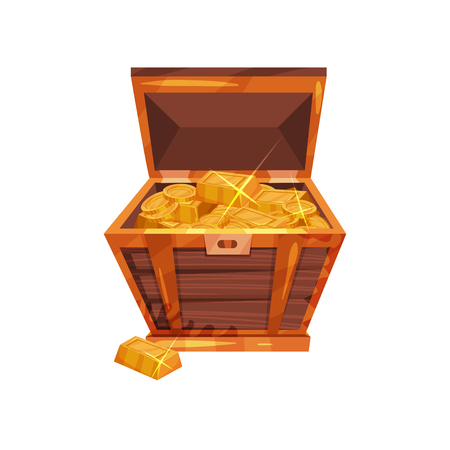 Open old wooden chest full of golden coins and ingots