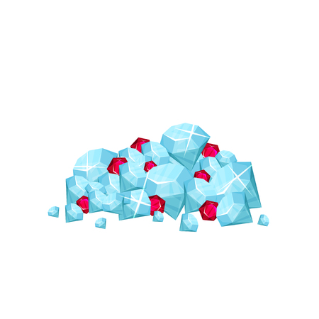 Pile of precious gemstone - blue diamonds and red rubies. Concept of expensive jewelry. Symbol of wealth. Cartoon fat vector design for mobile game 矢量图像