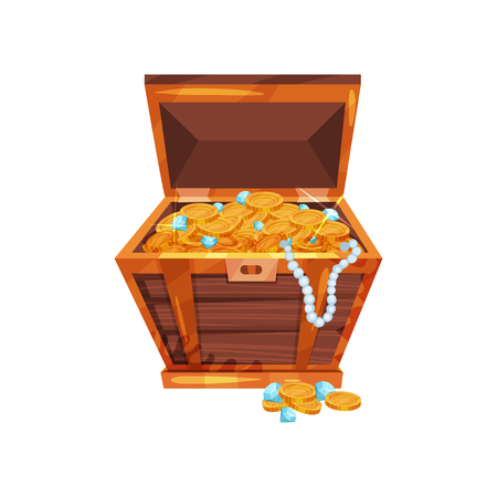 Cartoon wooden chest with shiny golden coins, blue diamonds and pearl necklace. Pirate treasures. Symbol of wealth and financial well-being. Flat vector design