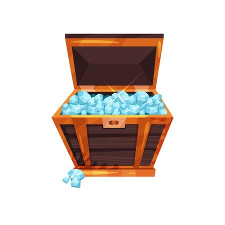 Old open chest full of precious stones. Shiny blue diamonds in wooden box. Symbol of wealth. Valuable gemstones. Cartoon flat vector design Illustration
