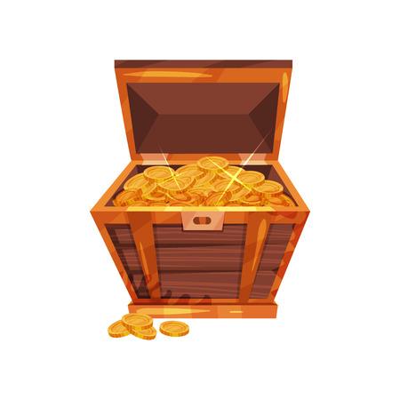 Open pirate chest full of golden coins Illustration