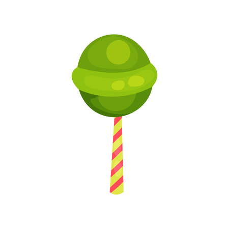 Green round lollipop. Sweet candy on striped stick. Cartoon icon in flat style. Vector design element for Happy Birthday card or sweet shop