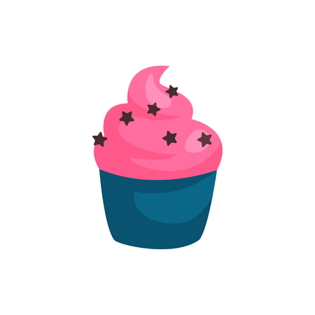 Birthday cupcake or muffin with strawberry cream. Concept of tasty dessert. Graphic design element for greeting card. Cartoon flat vector icon